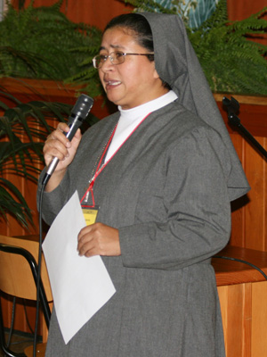 Rome. Sr. Rosa Pyngrope, provincial of INS, gives the Good Night.