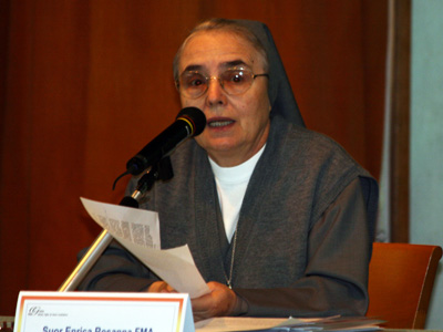 "Rome. Sr. Enrica Rosanna, presents her report ""The horizon of the journey of religious life today,"" starting with general challenges that affect the meaning and identity of consecrated life."