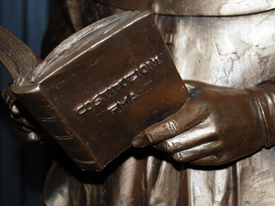 Rome. Detail of the statue of Mother Mazzarello.