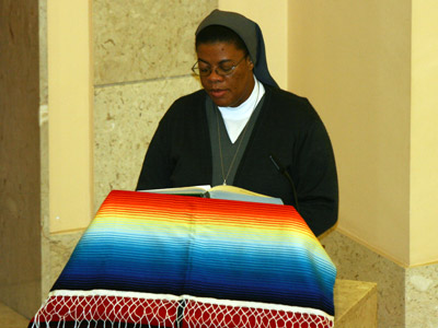 Rome. The Sisters of the province of Haiti animate the Mass. Sr. Annecie Audate, delegate of Haiti, reads the first reading.