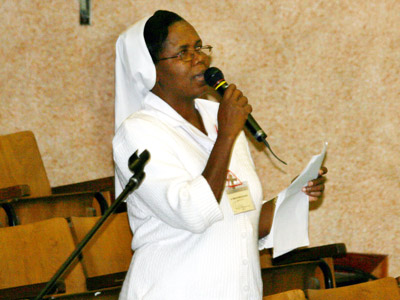 Rome. Sr. Marie Adline Clergé, provincial of Haiti, presents the Sisters of CIMAC.