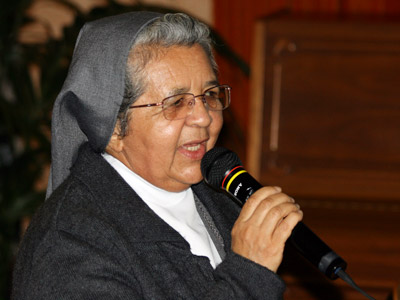 Rome. Sr. Aura María Ovalle, provincial of the Colombian province CBN, gives the Good Night.