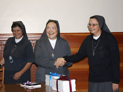 "Rome. Sr. Angela Elicio  and Sr. Lauretta Valente give Mother Antonia a video ""The future belongs to all,"" of Andrea Rusich on the difficulty in entering the workplace."