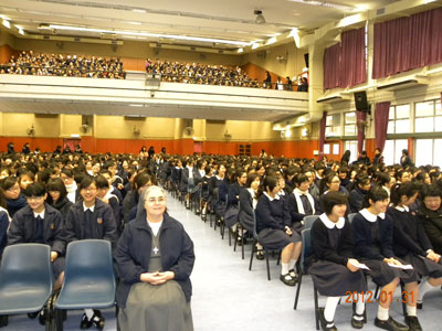 Hong Kong. S.Messa di Don Bosco con 1,100 ragazze di Our Lady's College  (scuola media e superiore in HK).