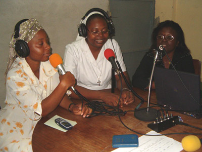 Sr. Martha Séïde taking part in a radio transmission