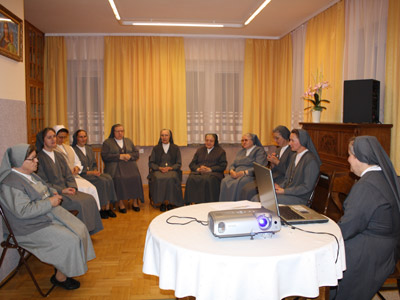 Warsaw. Canonical visit of Sr. Carla Castellino to the Polish Province of Our Lady of Jasna Gòra (PLJ). At a community meeting.
